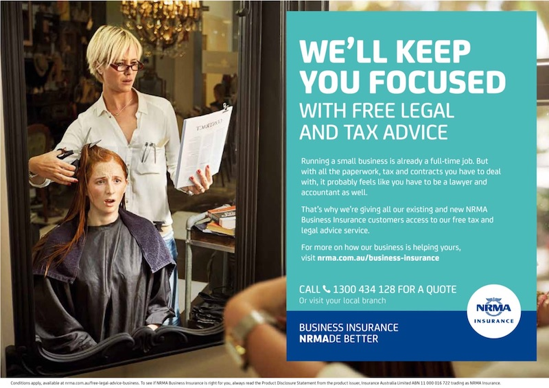 NRMA Retail Business Insurance print advertisement, hairdresser