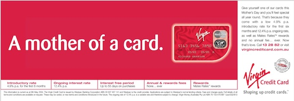 Virgin Credit Card Mother's Day print advertisement