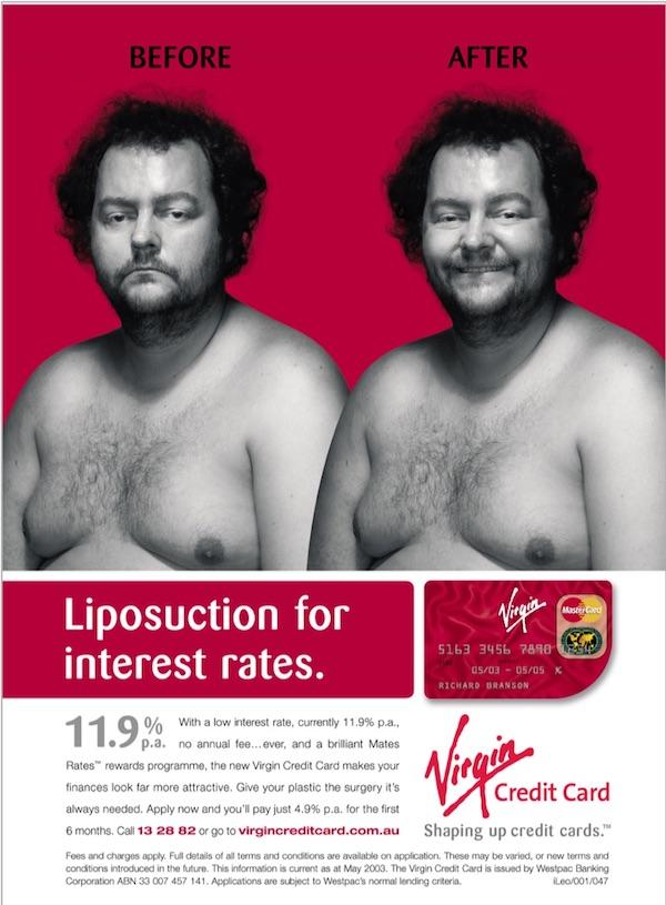 Virgin Credit Card TV Guide print advertisement