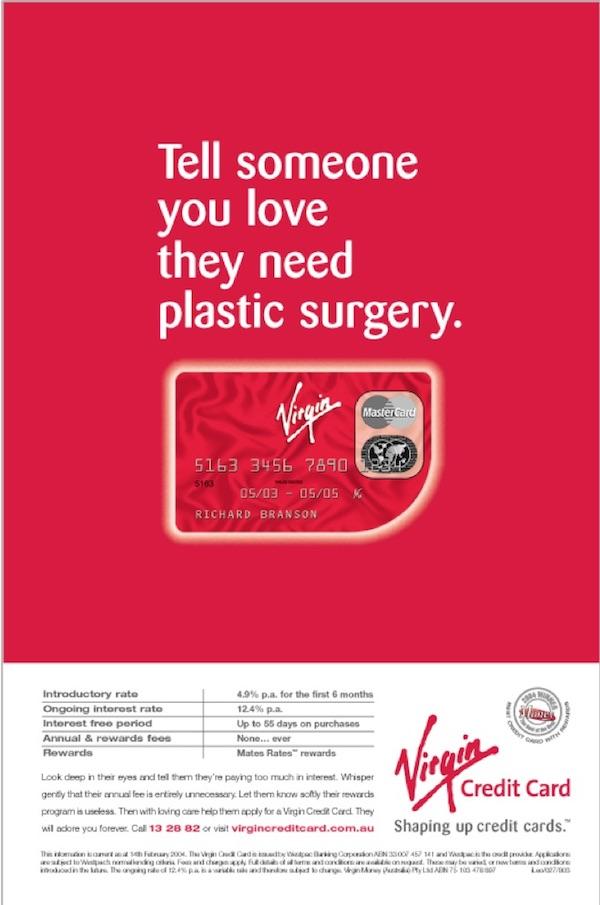 Virgin Credit Card Valentine's Day print advertisement